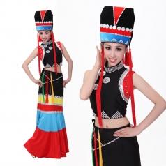 新款彝族演出舞蹈服 预售少数民族舞蹈演出服女款 舞台服装