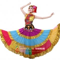 出售新款彝族演出舞蹈服装 彝族演出服 少数民族演出服装女款