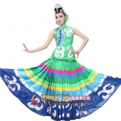 2014新款绿色彝族开场舞大摆裙服装 售彝族大摆裙服装 民族服