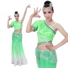开场舞蹈服装演出服 北京新款绿色傣族孔雀舞蹈服装 民族服装