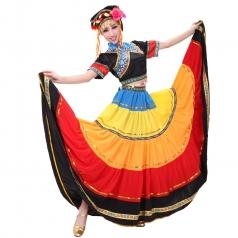 彝族大摆裙 出售黑色民族舞蹈演出服 开场舞裙火把节服装定做