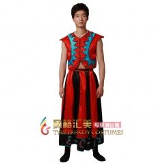 风格汇美 少数民族舞蹈演出服 男士舞台服装 汉服彝族表演服定制