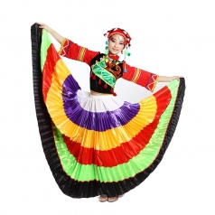 风格汇美 彝族七彩长袖舞蹈演出服大摆裙 民族表演服舞台装可定制