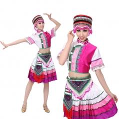 少数民族舞蹈服装佤族演出服 民族舞蹈表演服装 新款可定制