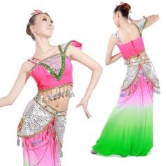 风格汇美 傣族舞蹈演出服 少数民族表演服装 渐变亮片舞台表演服
