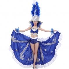 风格汇美 女士开场舞大摆裙 蓝色羽毛舞蹈演出服 表演舞台装