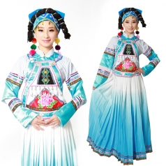 风格汇美 少数民族演出服装 彝族演出舞台服装 天蓝演出服装