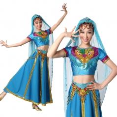 北京印度舞蹈服 现代肚皮舞演出服 印度舞表演服装定制