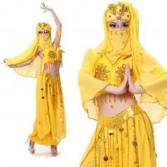 风格汇美特价 黄色女士印度舞演出服装 现代舞蹈服 肚皮舞套装