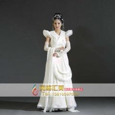 白色古代服装 轩辕剑演出服装 古装定制