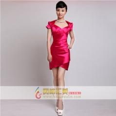 女士包肩玫红色礼服  短款小礼服 可定制
