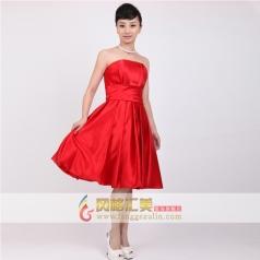女士红色短礼服 抹胸修身小礼服 定制