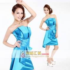 女士抹胸晚礼服 短款天蓝色小礼服