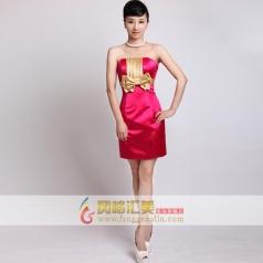 女士玫红色小礼服 玫红色结婚伴娘装 可定制