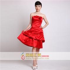 女士抹胸小礼服 短款红色礼服