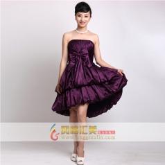 女士抹胸小礼服 短款紫色修身礼服