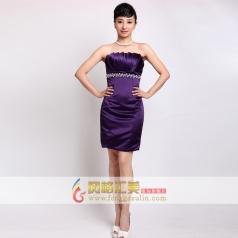 女士紫色礼服 抹胸包臀小礼服 可定制