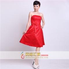 女士蕾丝短款礼服 新款红色小礼服