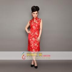 立领无袖红色旗袍  凭长款旗袍可订制