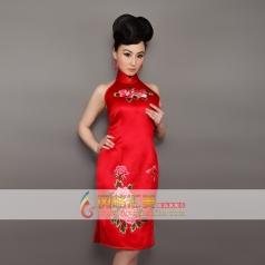 新款红色挂脖无袖长款旗袍 刺绣旗袍 可订制
