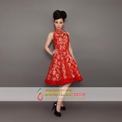 新款红色礼服长款旗袍 刺绣旗袍 可订制