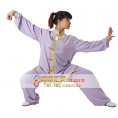 棉加丝女款偏襟吸汗免熨烫中老年晨练服太极服 紫红