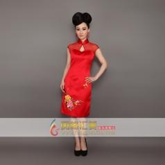 新款红色刺绣修身包臀礼服 长款旗袍 可订制礼服