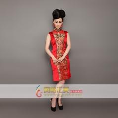 传统立领刺绣旗袍 长款旗袍可订制