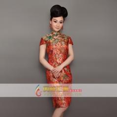 新款长款旗袍  刺绣修身旗袍  可订制
