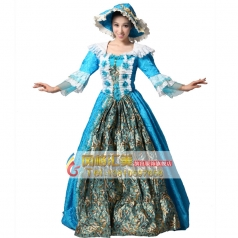 欧式蓝色花边高贵女士宫廷服装 表演服
