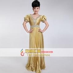 新款女士合唱服装 仿真丝合唱演出服 长款舞台服装