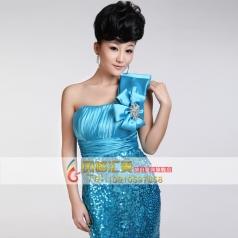 抹胸蓝色蝴蝶结长款礼服 女士表演服装