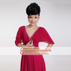 女士大合唱演出服装 中袖长款舞台服
