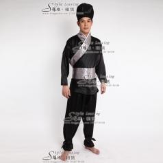 黑色店小二服装   古代武士服装