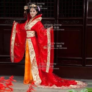 出租红色古代妃子服装 红色皇后古装演出服