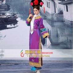 古代格格演出服  清朝紫色公主格格服装  舞台古装演出服