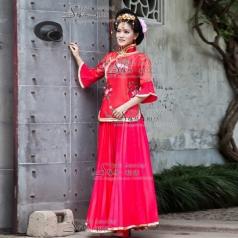 古代红色演出服   女士古装  年会专用