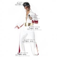 猫王演出服  白色表演舞台装 年会服装