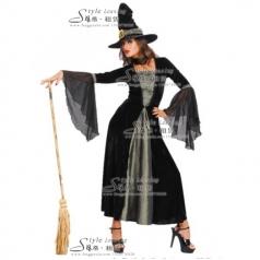 黑色巫婆服装  巫女演出服  蓝精灵巫婆服装