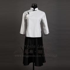白色女士演出服装 年代表演服装