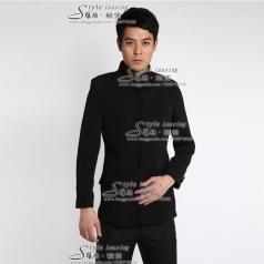 黑色年代表演服装 男士演出服装