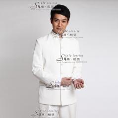 男士白色表演服装 舞台演出服装