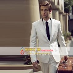 男士白色西服套装舞台表演服装 宴会礼服套装