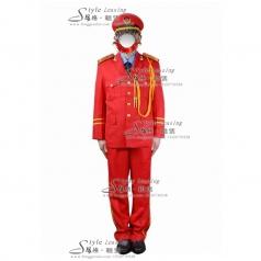 红色军旅礼服表演服装  军队演出服装