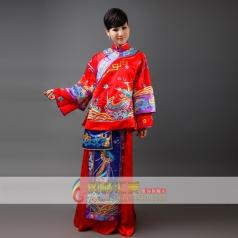 女士刺绣大红龙凤褂 演出舞台服装