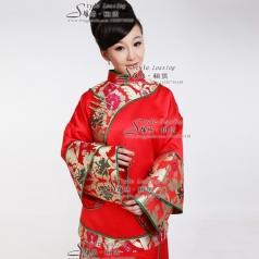 长袖女士刺绣旗袍 长款龙凤褂演出服装