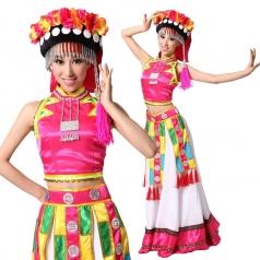 可新款彝族舞台演出服装 女士彝族民族舞蹈服装 风格汇美