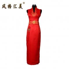 风格汇美正品 新款红色长款奥运旗袍 无袖复古老上海礼服中式婚纱
