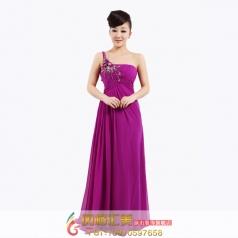 紫色单肩晚礼服 主持人礼服