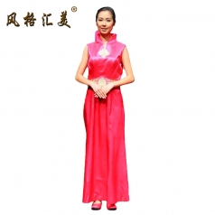 风格汇美正品 新款女士奥运旗袍 迎宾礼仪复古无袖旗袍演出服